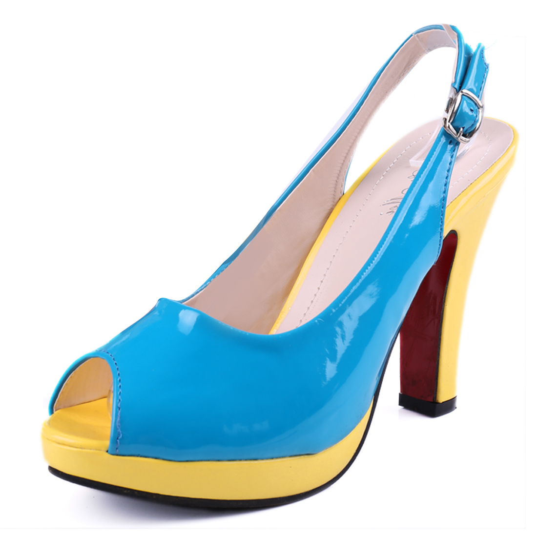 Women Open Toe Design Contrast Color Blue Yellow Sandals Pumps US 6.5
