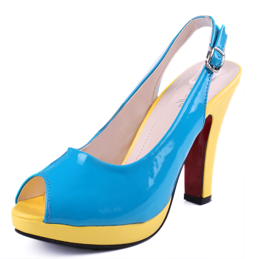 Woman Chic Open Toe Buckle Strap Design Blue Yellow Platform Pumps US 7