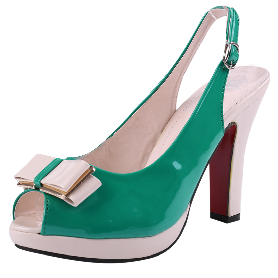 Women Buckle Back Color Blocking Platform Pumps Green Beige US 6.5