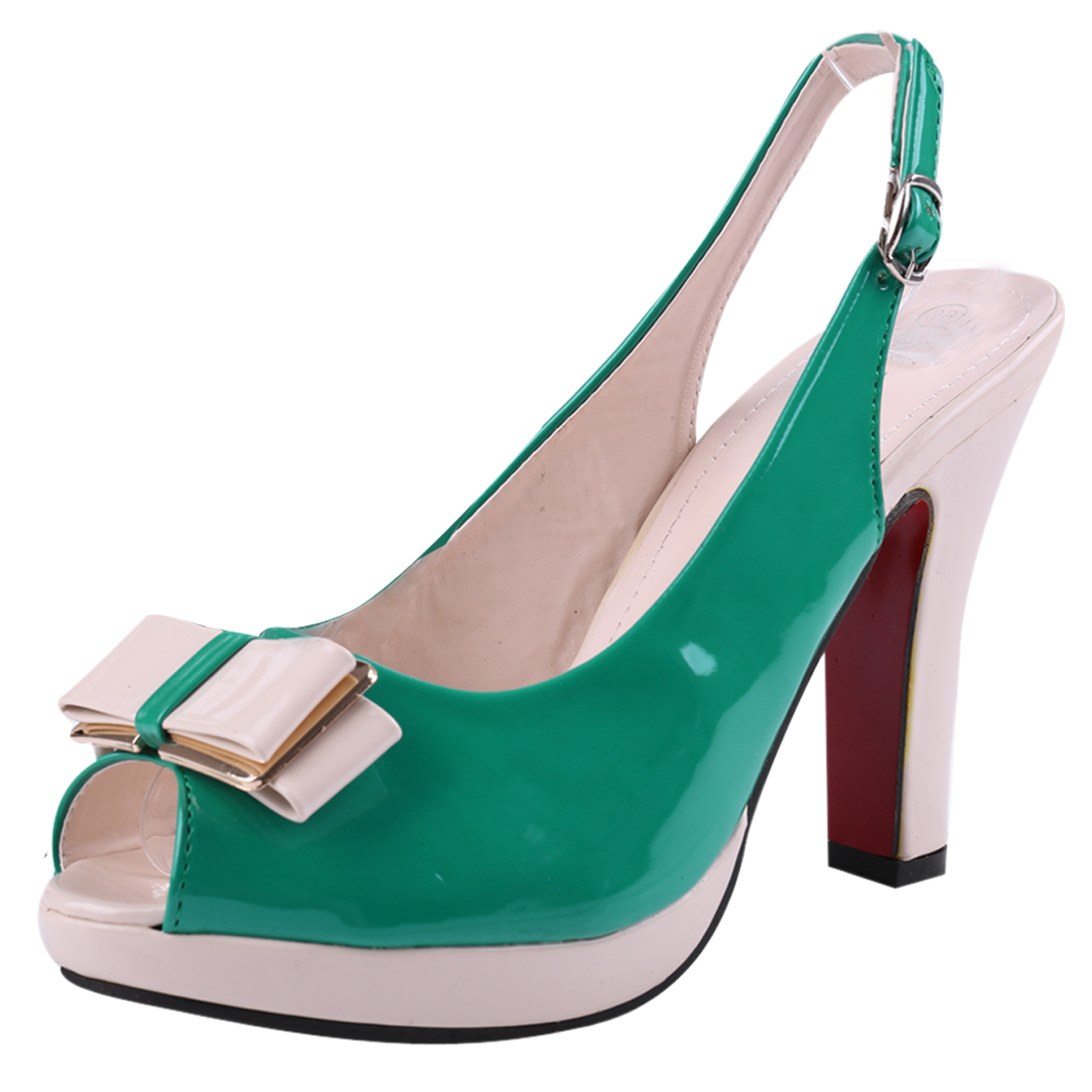 Women Patent Bowknot Decor Platform Pumps Green Beige US 7