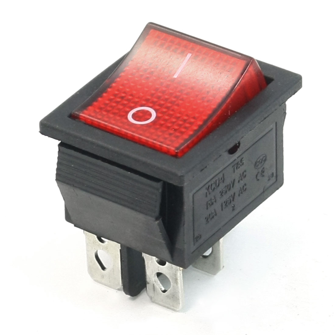 AC 250V/16A 125V/20A Dual Pole Single Throw I/O Rocker Switch Red