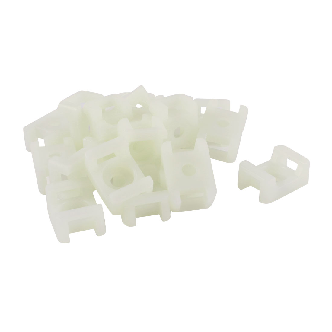 20 Pcs Off White Plastic Saddle Type Wire Cable Tie Mount Holder