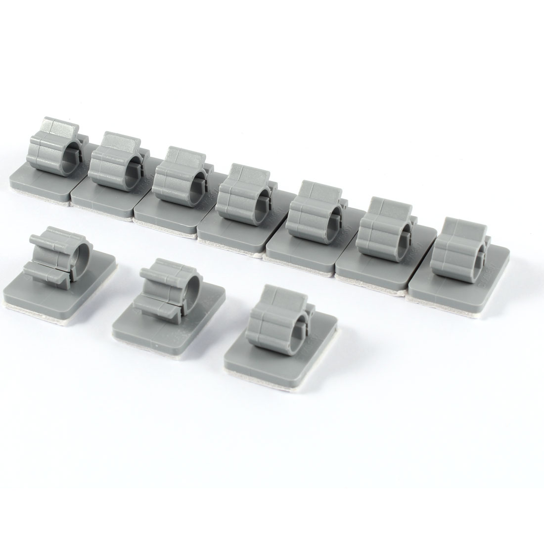 10 Pcs Gray Plastic Self Adhesive Wire Cable Clip Hose Tube Clamps