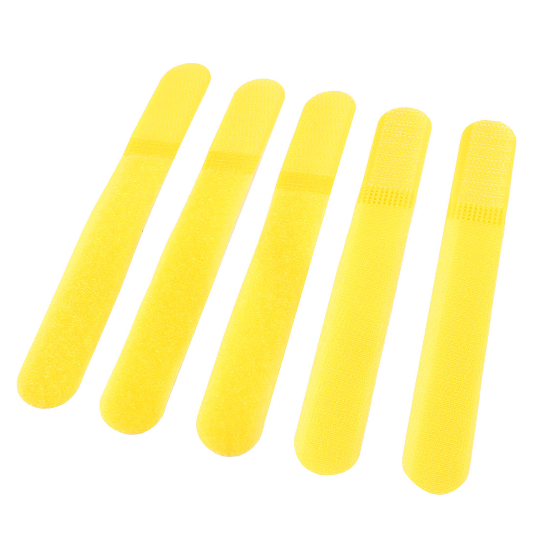 5 Pcs Detachable Fastener Hook Loop Tie Strap Cable Cord Organizer Yellow