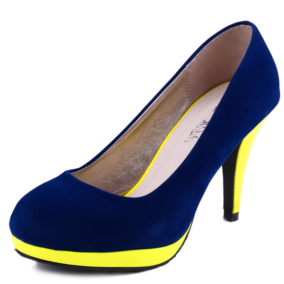 Lady Chic Royalblue Yellow Colorblock Design Platform Pumps US 6.5