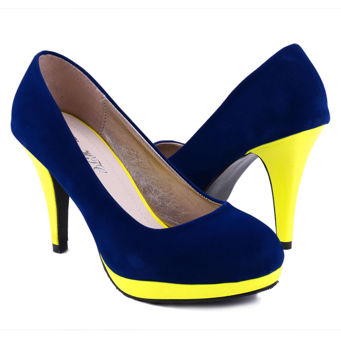 Woman Stylish Royalblue Yellow Round Toe Faux Sudue Vamp Platform Pumps us 7