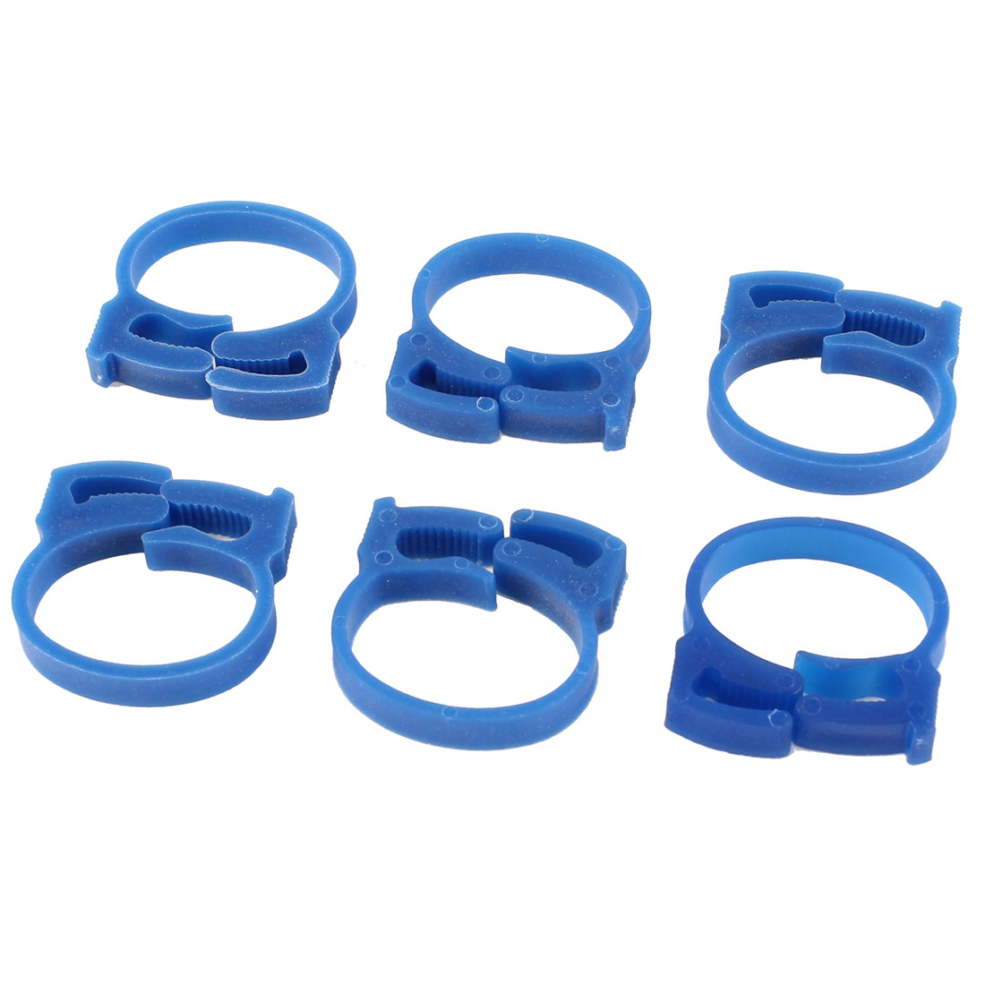 6 Pcs Blue Plastic 26mm Wire Cord Ring Clamp Tie Cable Clip Organizer