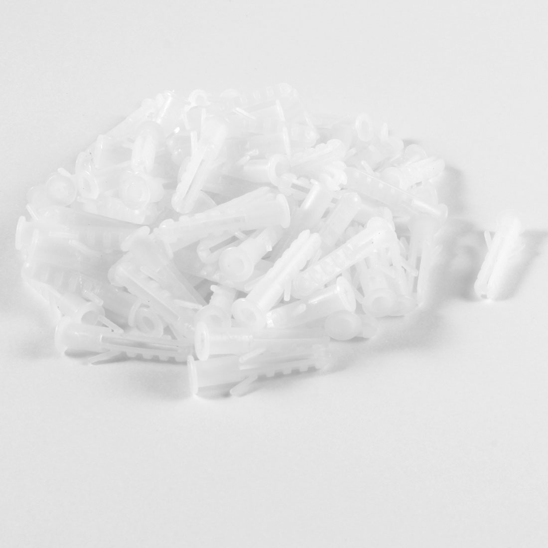100 Pcs 6mm Diameter White Plastic Rimless Expansion Wall Connector