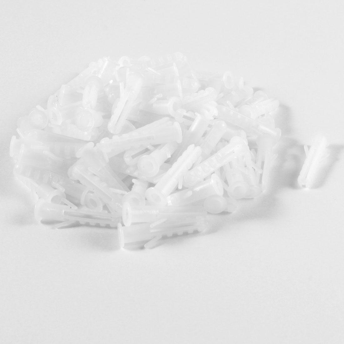 100 Pcs 6mm Diameter White Plastic Rimless Expansion Wall Plug
