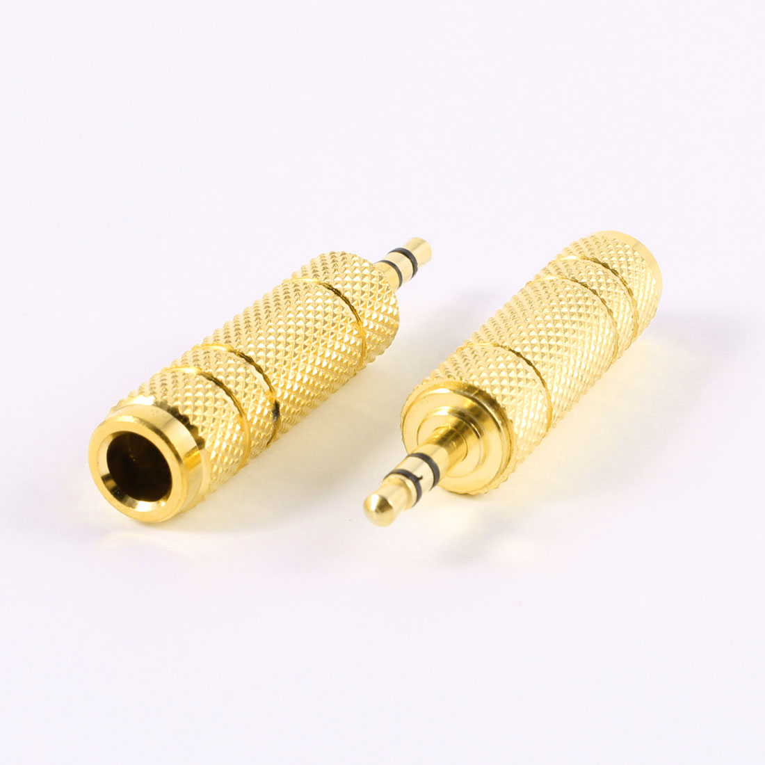 2 Pcs 3.5mm Male to 6.35mm Female Gold Tone Metal Audio Adapter Converter