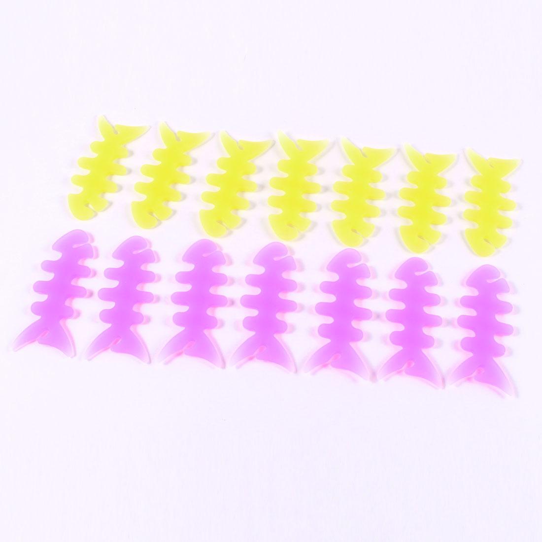 14 Pcs Yellow Fuchsia Rubber Fish Bone Design Headphone Cable Cord Winder Wrap
