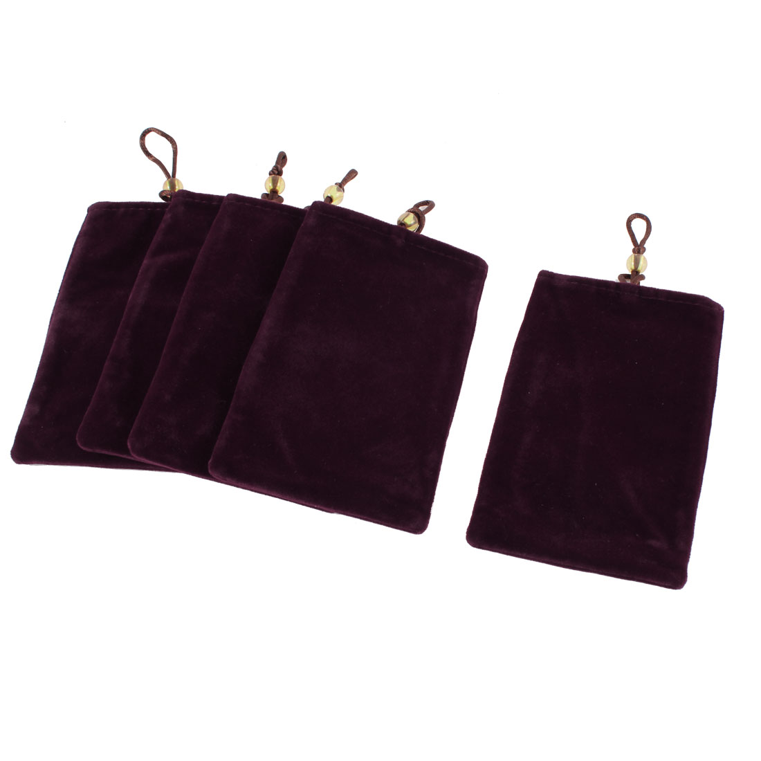 5 Pcs Dark Burgundy Velvet Universal Pouch Pocket Cover for Mobile Cell Phone