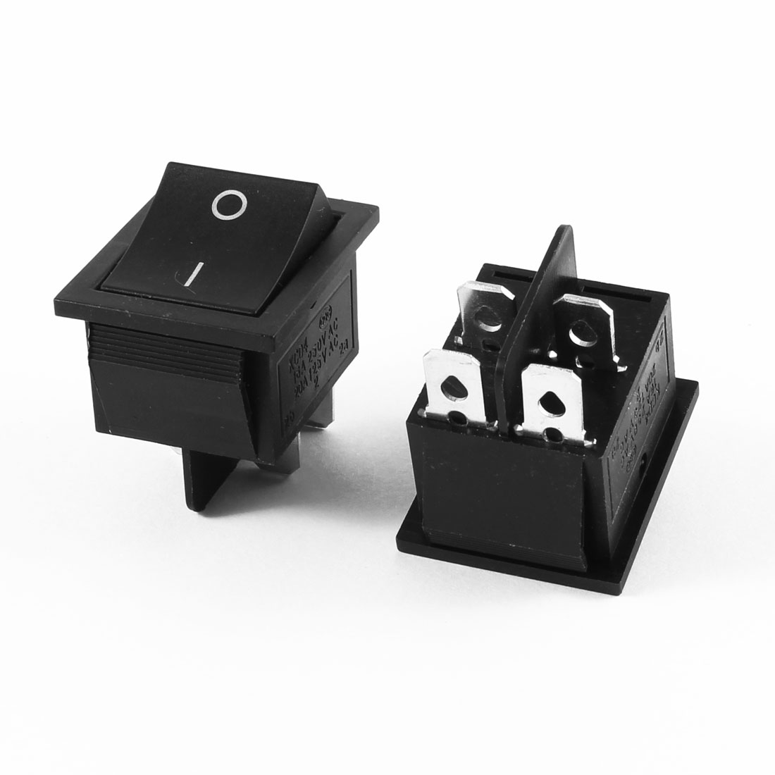 2 Pcs Black Plastic Shell AC 16A/250V 20A/125V 4 Pin DPST On/Off Rocker Switch