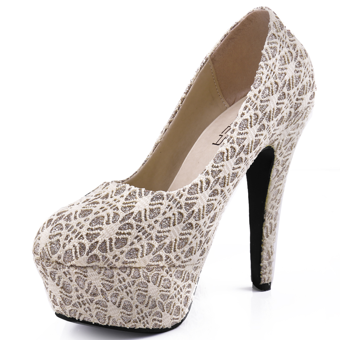 Woman Chic Round Toe Crochet Flower Vamp Design Beige Platform Pumps US 6.5