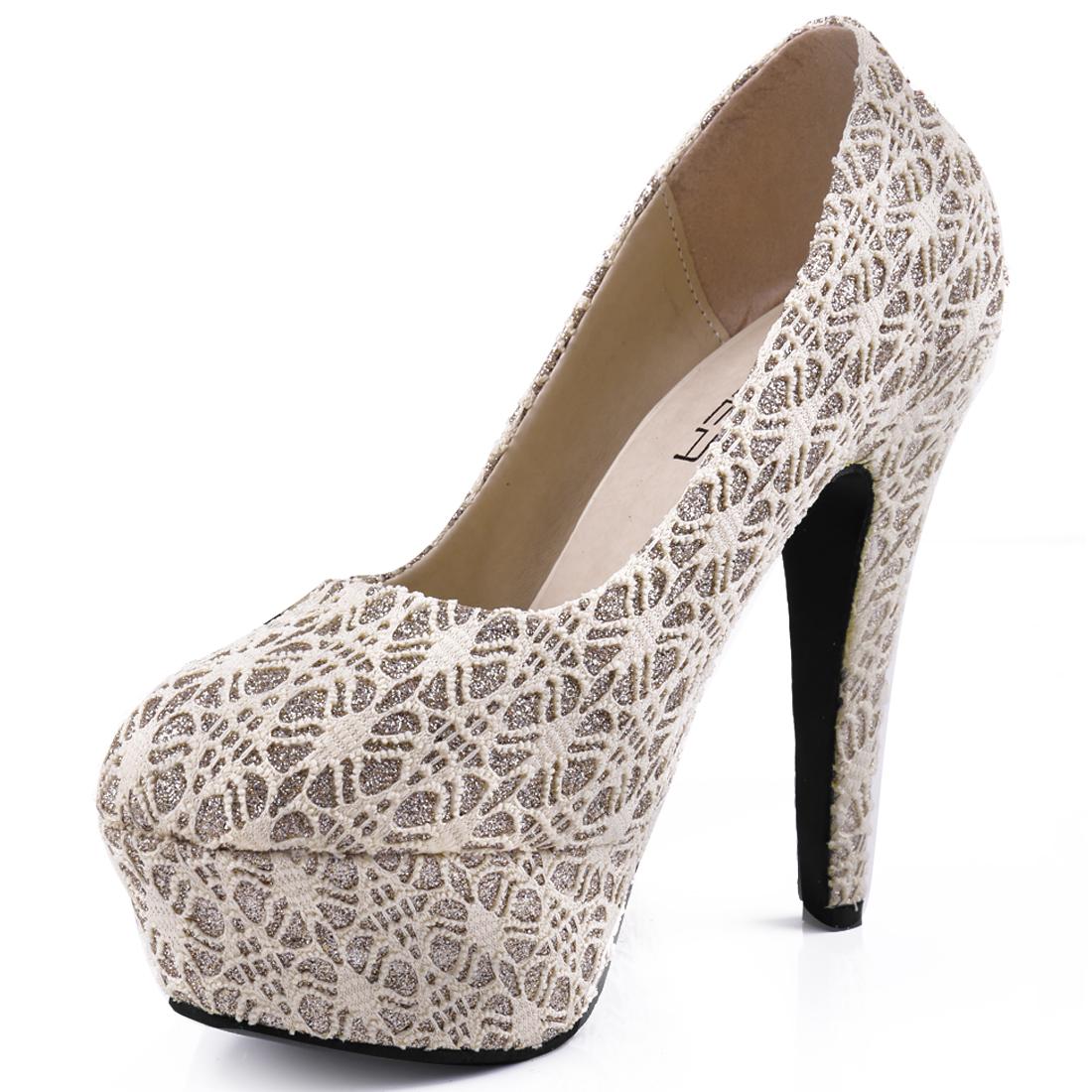 Ladies Chic Shiny Foil Decor High Heels Beige Platform Pumps US 7