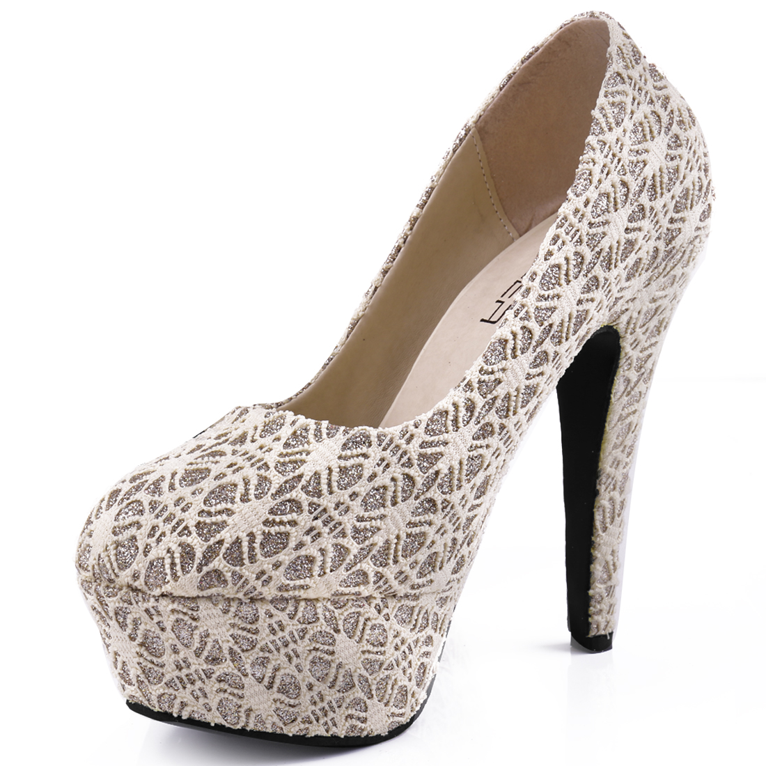 Women Fashion Beige Color Crochet Flower Vamp Design Platform Pumps US 7.5
