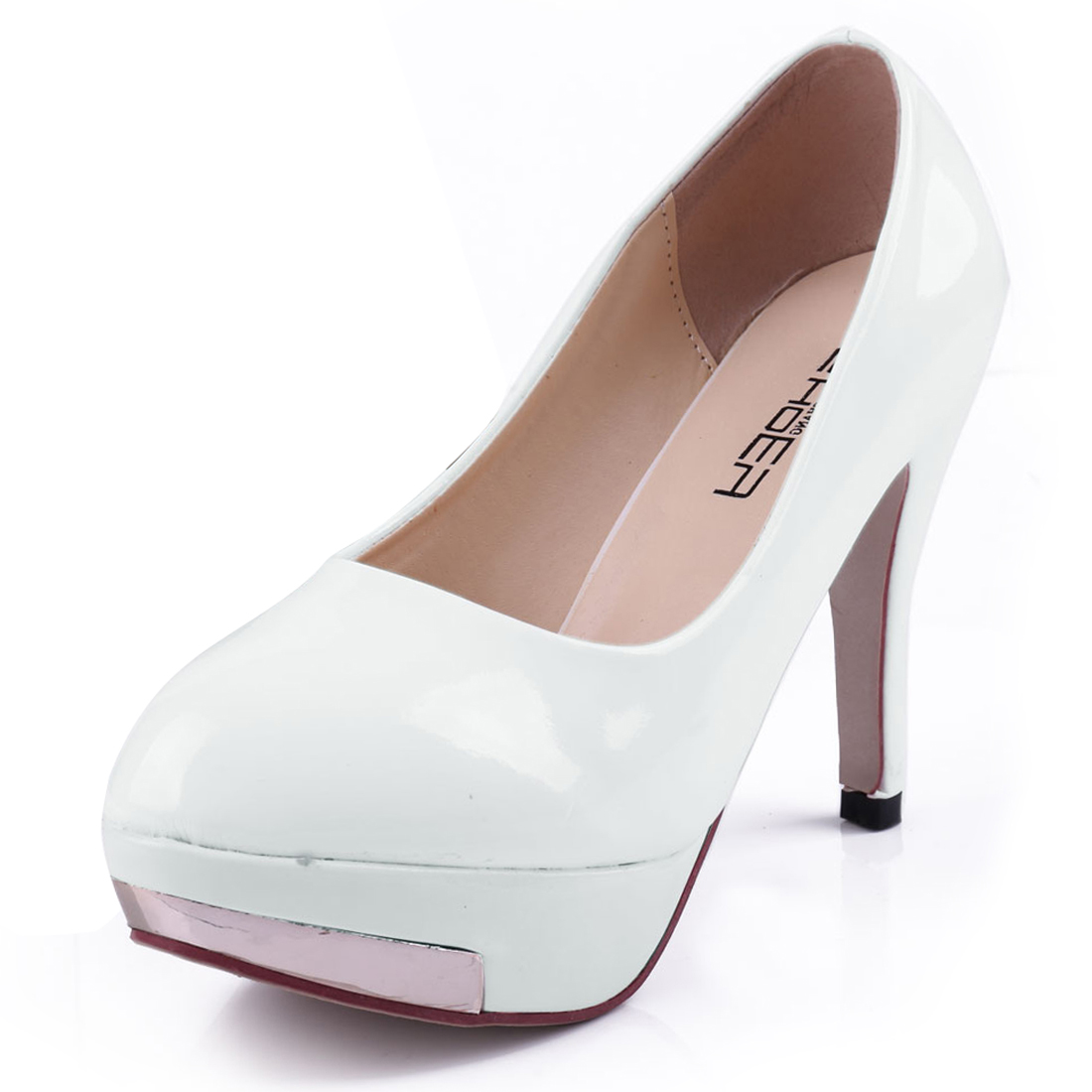 Women Fashion Round Toe Design White Faux Leather Platform Pumps US 7.5
