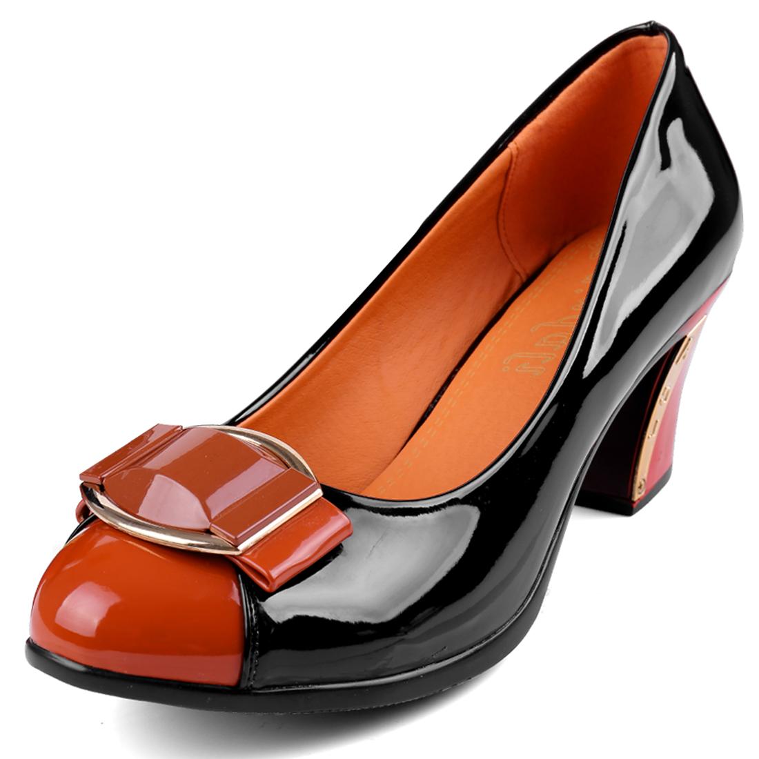Women Round Toe Patent Classic Pumps Black Orange US 6.5