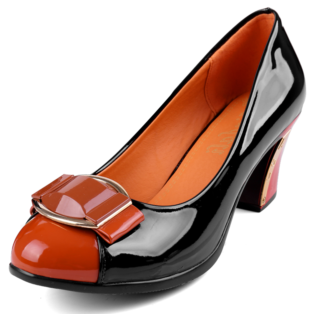 Women High Heel Metal Decor Color Block Pumps Black Orange US 7