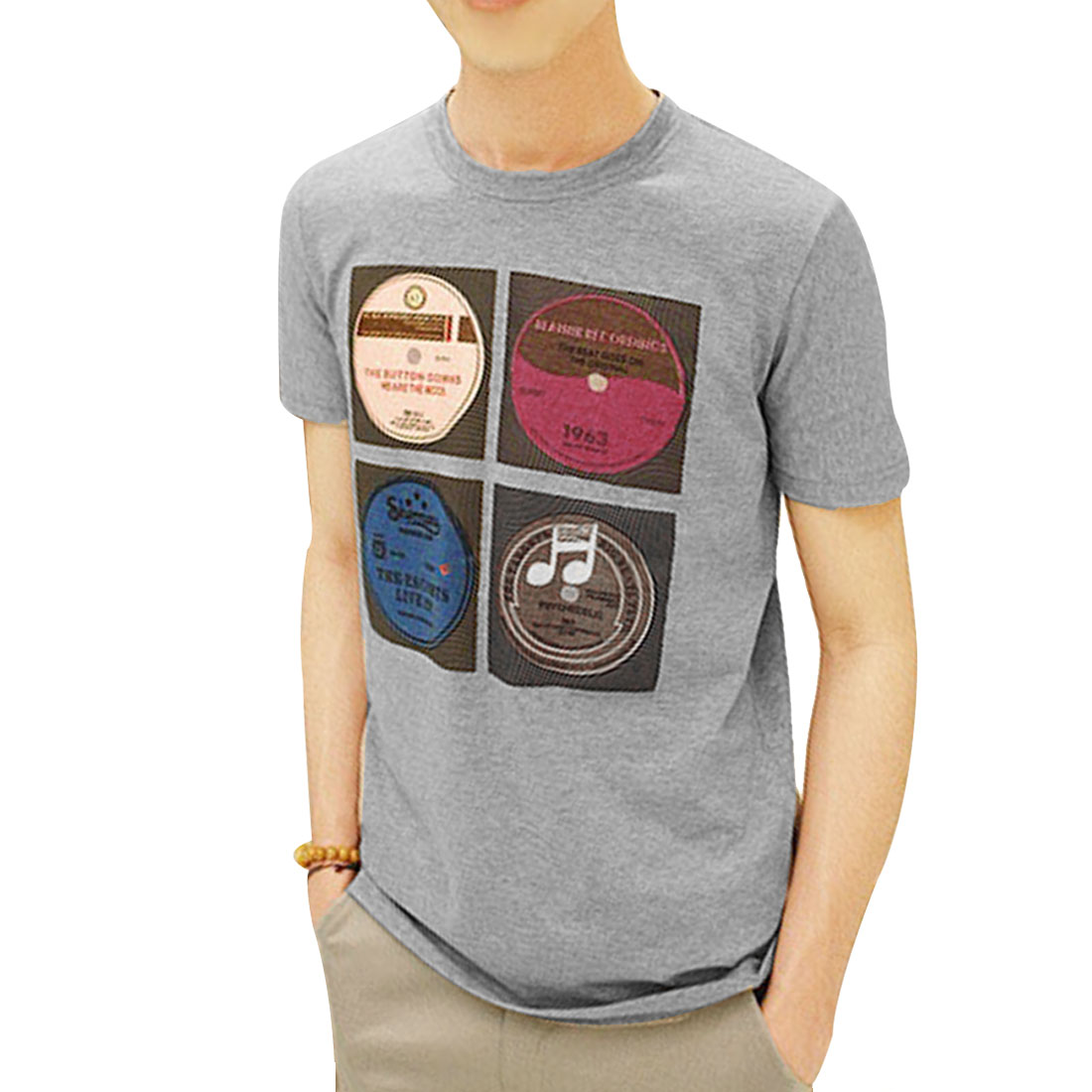 Short Sleeves CD Print British Style T-Shirt Gray S for Men
