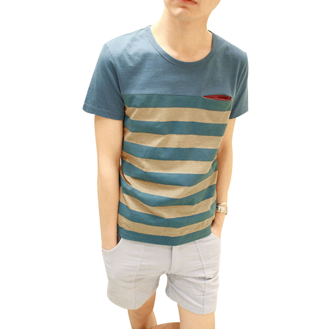 Pullover Round Neck Stripes Print Casual T-Shirt Top Blue Yellow S for Men