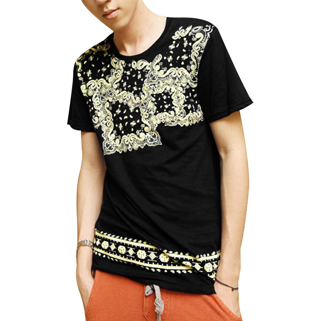 Round Neck National Style T-Shirt Top Black S for Man