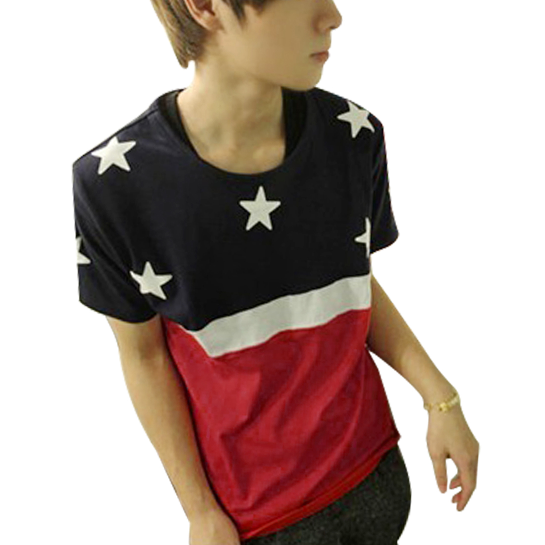 Men Round Neck Stars Print Summer Leisure T-Shirt Top Red White Navy Blue M
