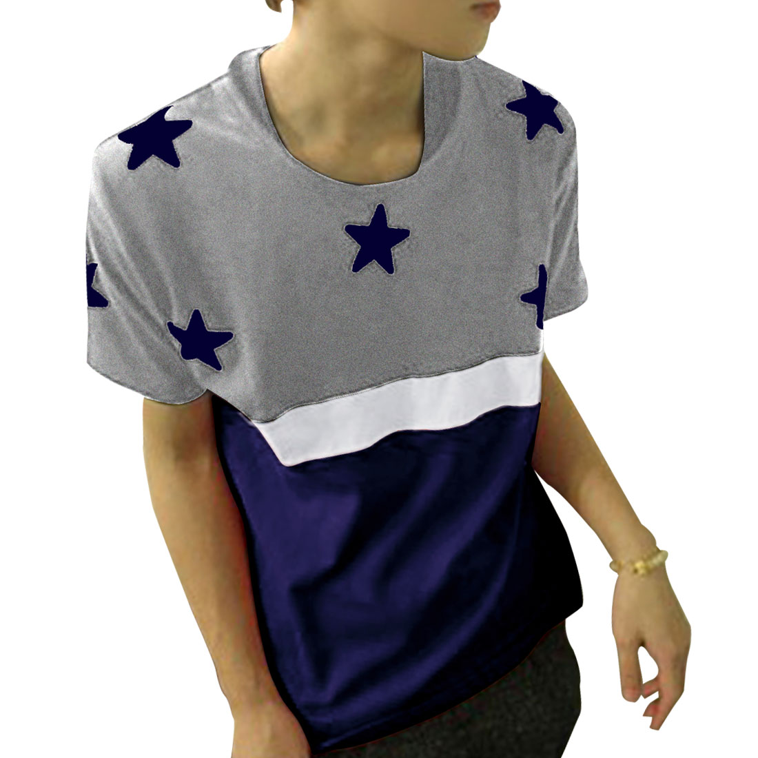 Man Stars Print Navy Blue White Gray Color Block Casual T-Shirt Blouse S