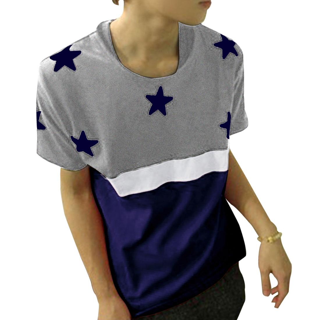 Men Round Neck Stars Pattern Summer Leisure T-Shirt Navy Blue White Gray M
