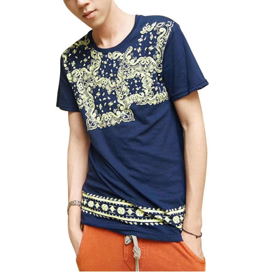 Men Short Sleeves Mini Hearts Print Leisure T-Shirt Blouse Steel Blue M
