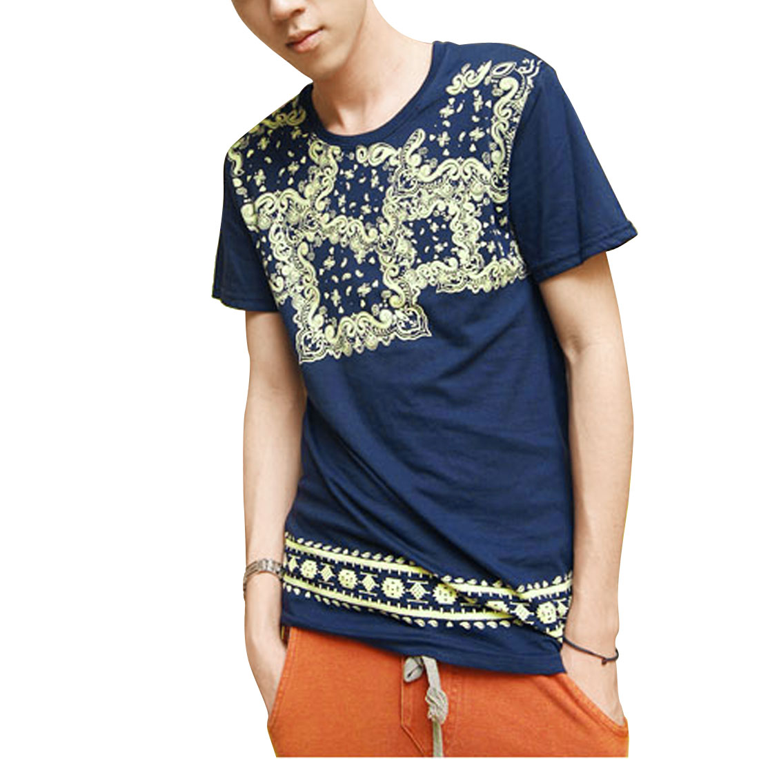 Round Neck Paisley Pattern T-Shirt Top Steel Blue S for Men