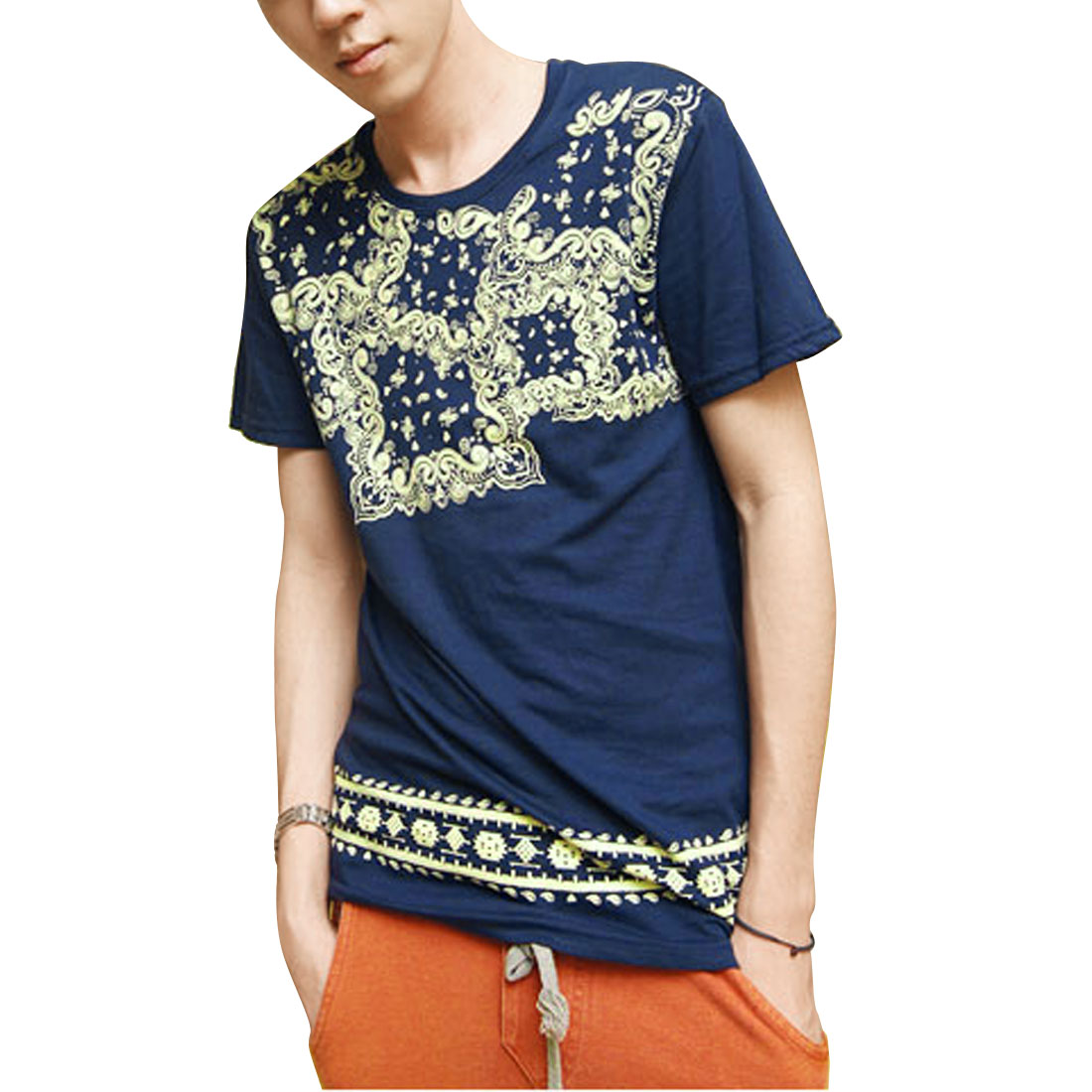 Man Fashional Paisley Pattern Casual T-Shirt Blouse Top Steel Blue S