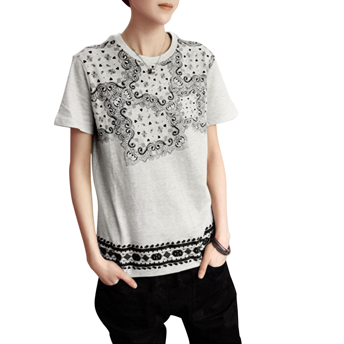Round Neck Fashional Paisley Pattern T-Shirt Top Gray S for Men