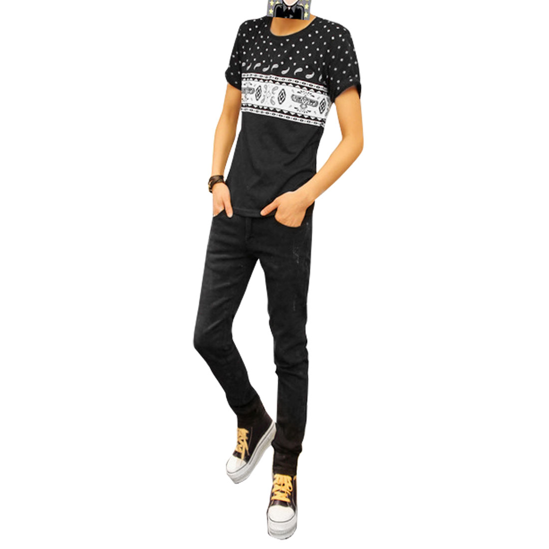 Paisley Pattern Summer Casual T-Shirt Top Black S for Man