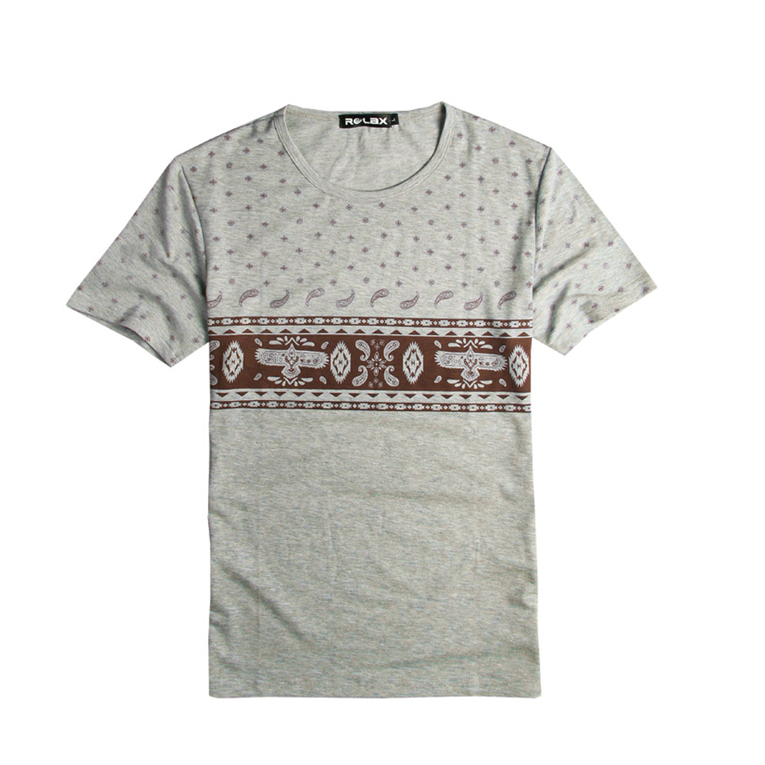 Round Neck Paisly Print Fashioanl Leisure T-Shirt Gray S for Men