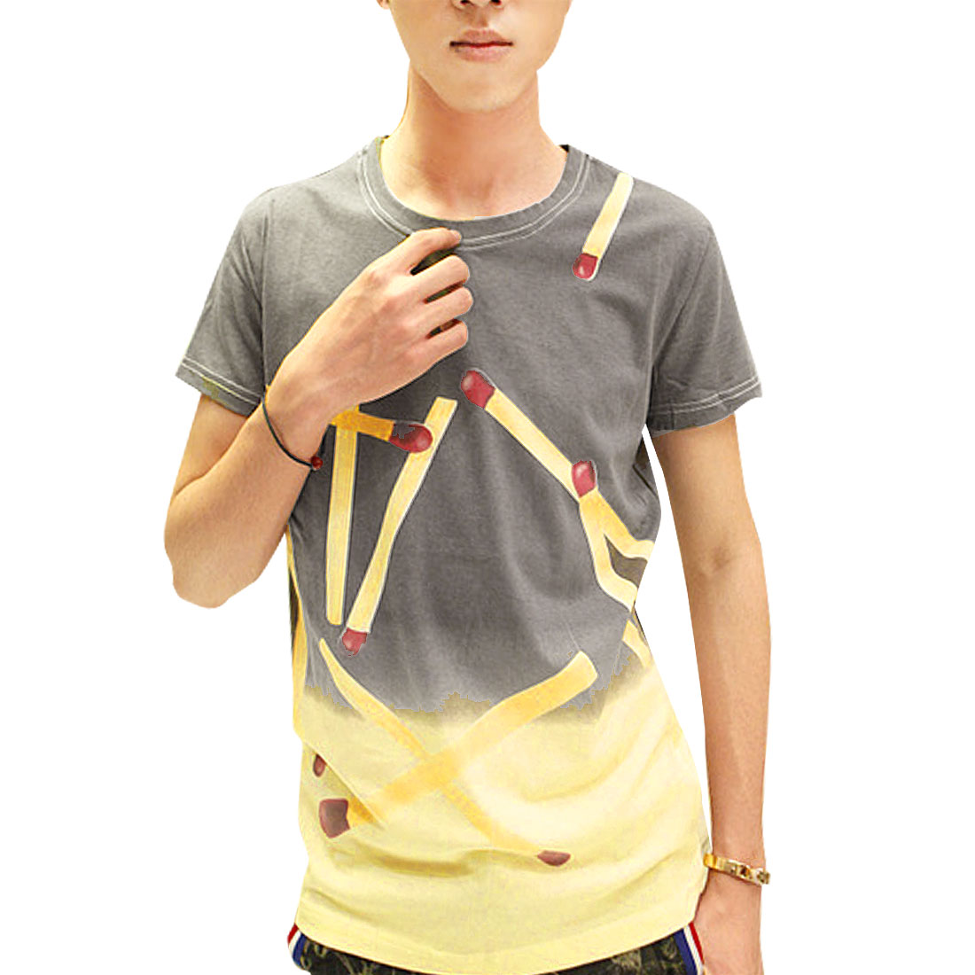 Man Round Neck Matches Print Gradient Style T-Shirt Gray Yellow S