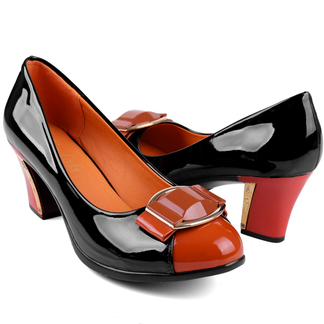 Women Chunky Heel Classic Lines NEWS Pumps Black Orange US 8