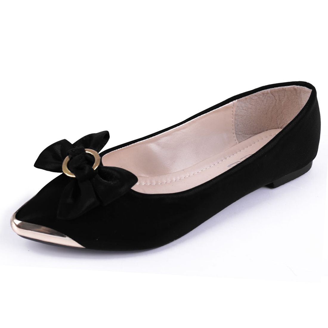Women Pointed Toe Bowknot Decor Flats Black US 6.5