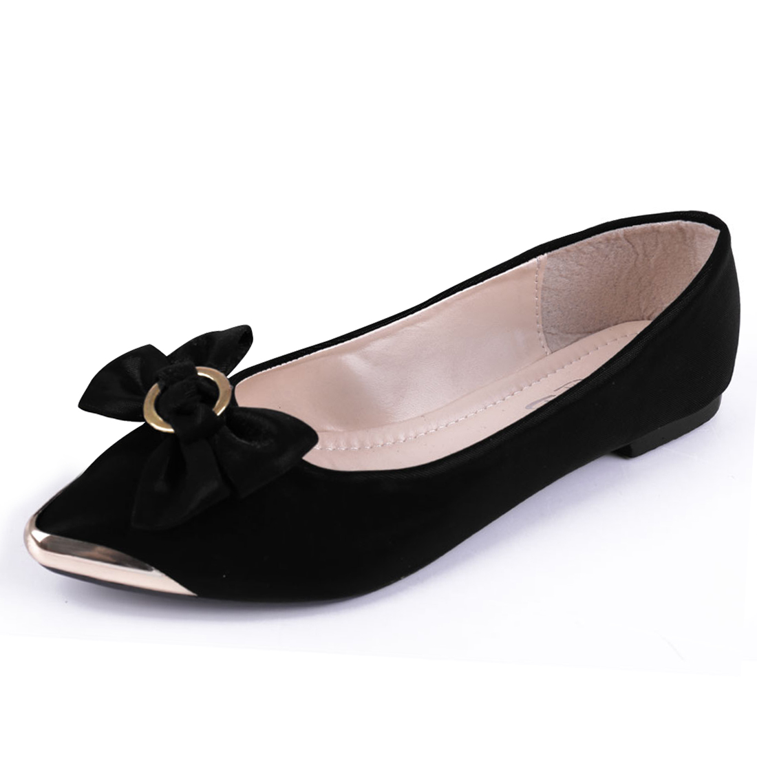 Women Padded Footbed Metal Splice Flats Black US 7