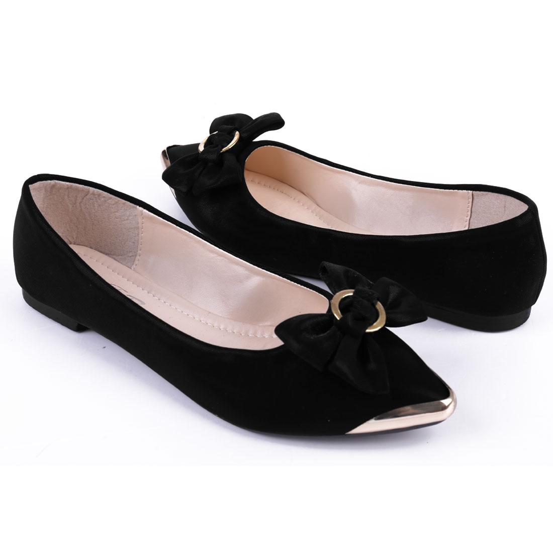 Women Small Rubber Heel Classic Lines Flats Black US 7.5
