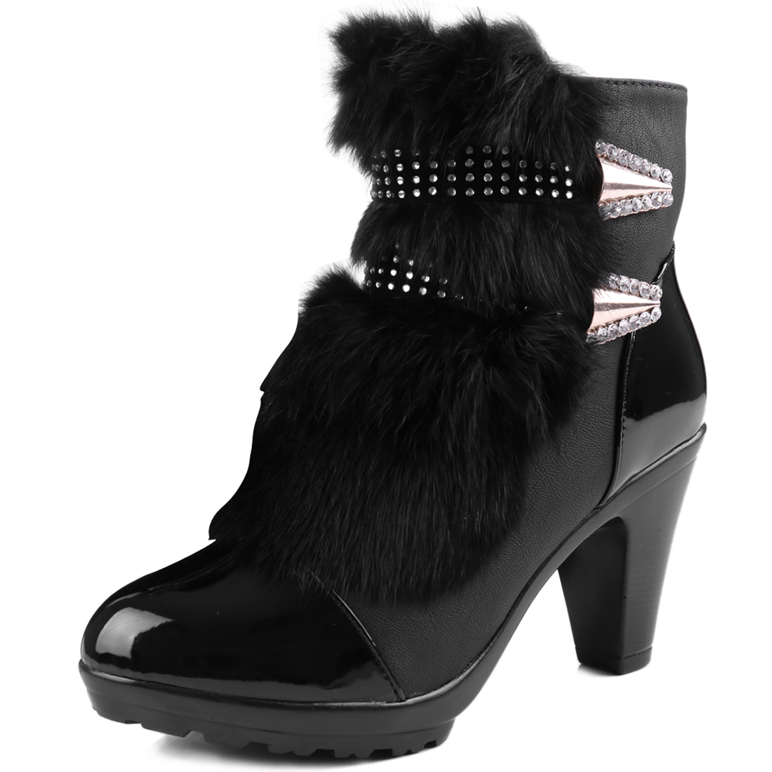Women High Heel Panel Fashion Winter Boots Black US 7.5