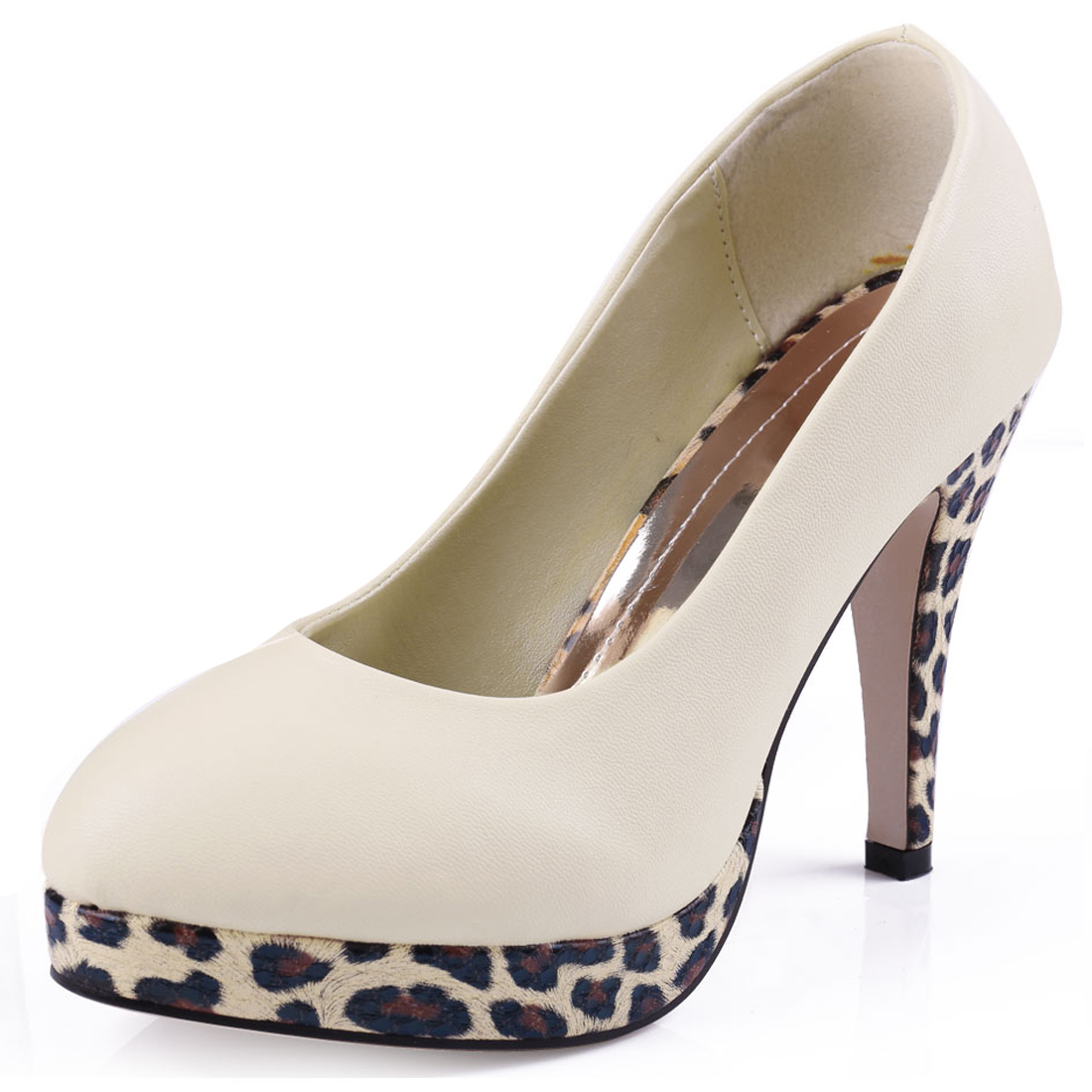 Women Round Toe Leopard Pattern Design Stillettos Beige Platform Pumps US 6.5