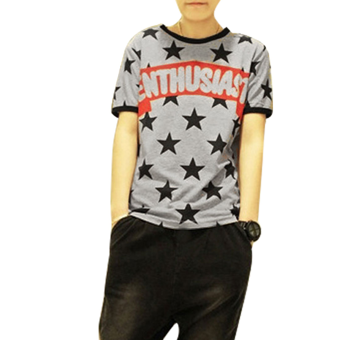 Handsome Men Short Sleeves Stars Embellished T-Shirt Black Gray S