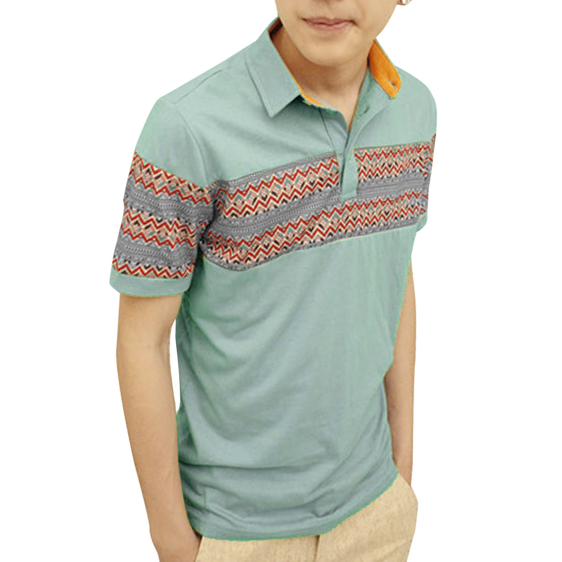 Button Down Zigzag Print Stylish Casual Polo Shirt Top Pale Blue S for Men