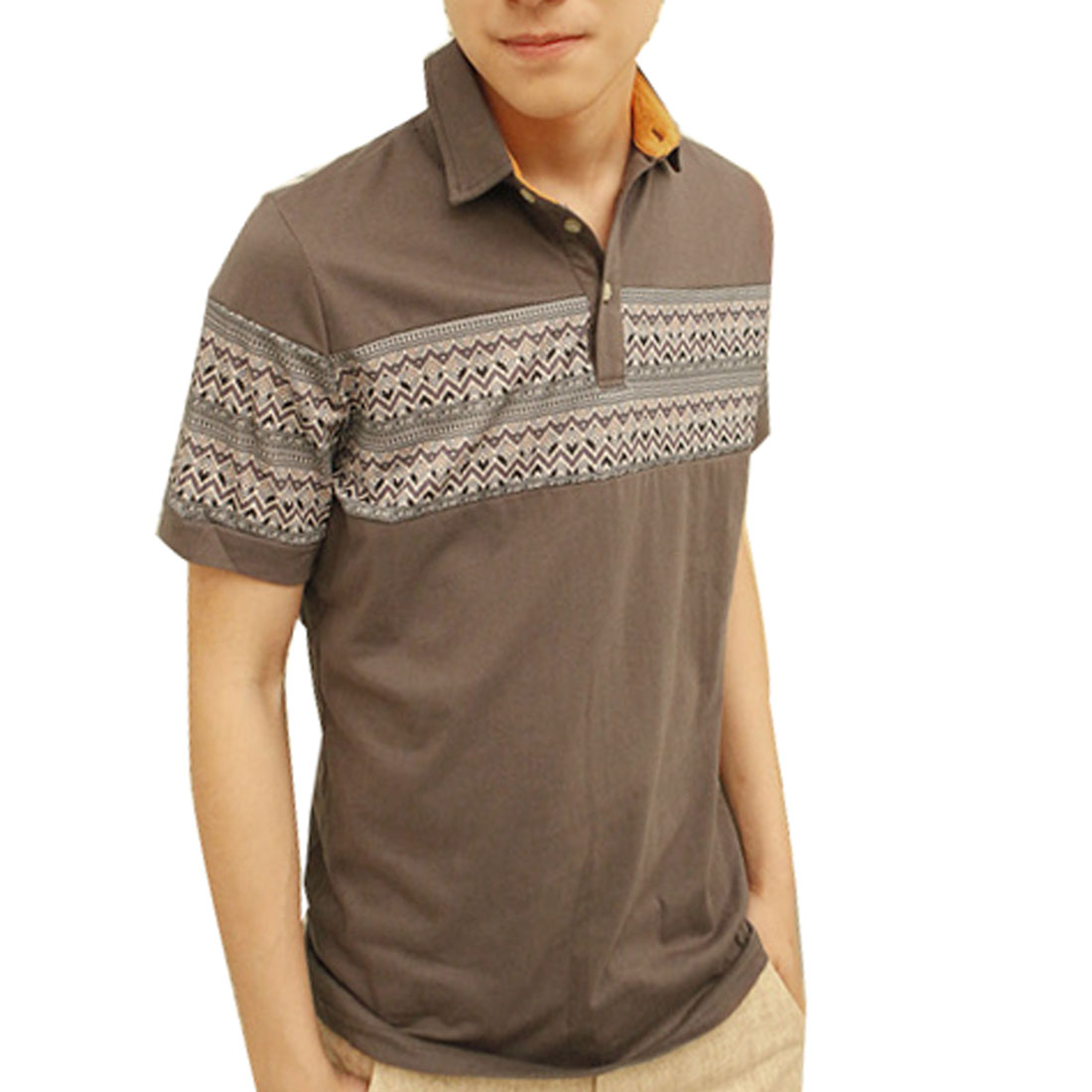Short Sleeves Zigzag Pattern Point Collar Polo Shirt Brown M for Man