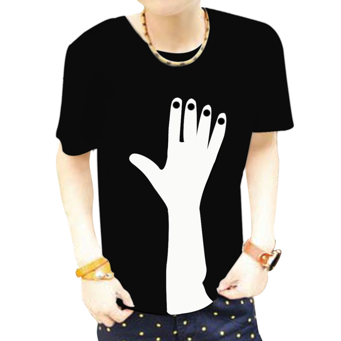 Man Faux Leather Hand Detail Casual T-Shirt Top Black S