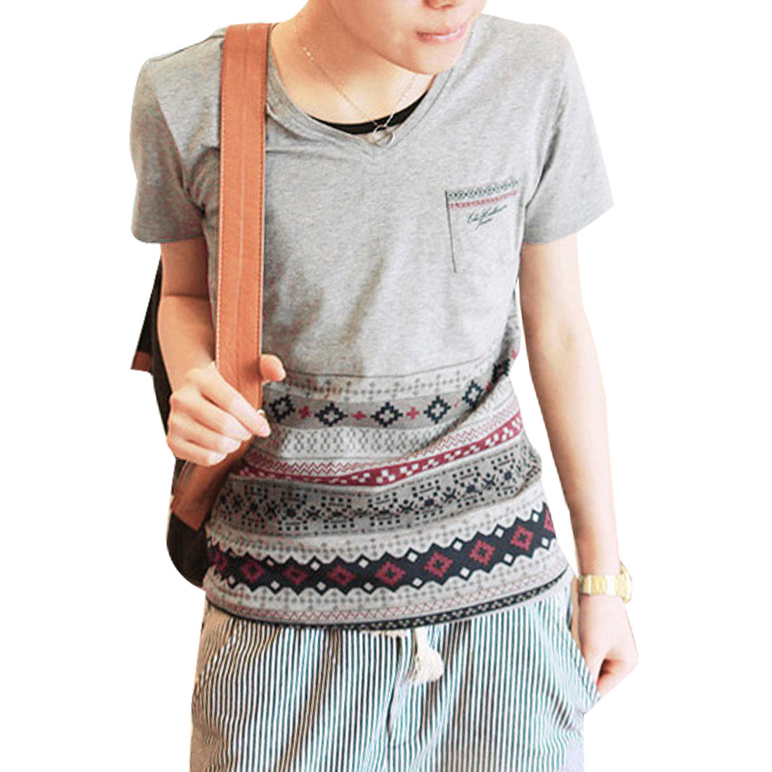 V Neck Short Sleeves Jacquard Pattern Leisure T-Shirt Top Gray M for Men
