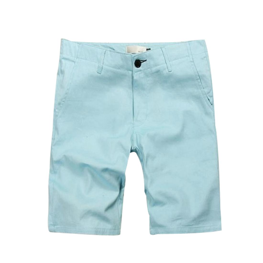 Men Summer Leisure Belt Loop Solid Sky Blue Knee Length Trousers Pants W30
