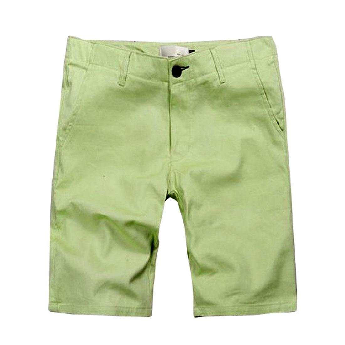 Men Summer Leisure Belt Loop Solid Light Green Knee Length Trousers Pants W32