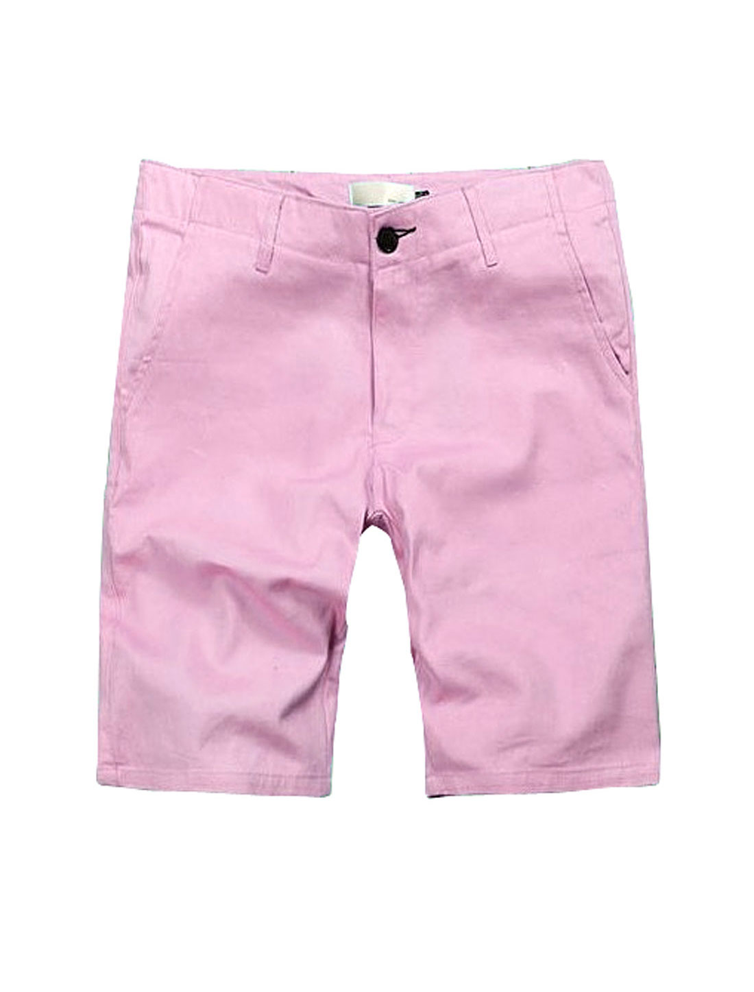 Men Slanting Pockets Front Zip Fly Casual Knee Length Trousers Pink W34